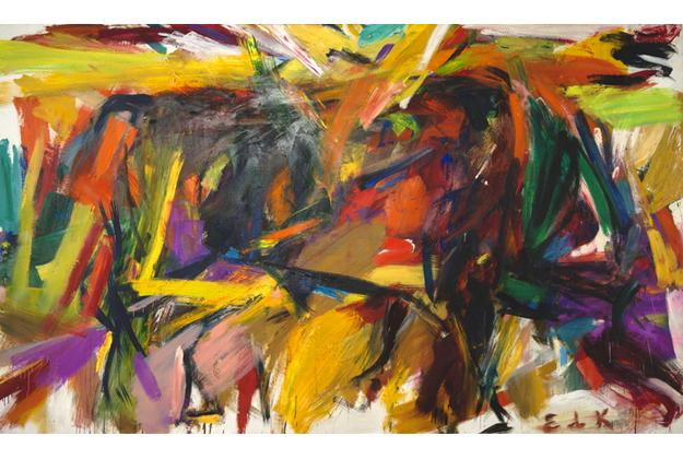 laine de Kooning, Bullfight, 1959.  Oil on canvas; 77-5/8 x 131-1/4 x 1-1/8 in.  Denver Art Museum: Vance H.  Kirkland Acquisition Fund.  Courtesy Mark Borghi Fine Art, New York, NY.  © Elaine de Kooning Trust