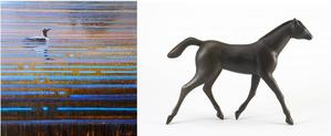 "Artwork by Western Visions Featured Artists: left, ""Arctic Loon"" by Ewoud de Groot, oil on canvas on panel, 22 x 22 inches, $15,600; right, ""Little Horse Trotting"" by Gwynn Murrill, bronze sculpture (edition of 9), 12.5 x 17 x 3 inches, $18,000."