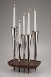 Candelabrum in sterling silver with walnut base, made in 1970 (estimate: $4,000–$8,000).