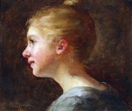 """Anna Elizabeth Klumpke (1856 - 1942) Smiling Girl, signed lower left, oil on panel, 7 1/4"""" x 8 3/4"""", $7,500."""