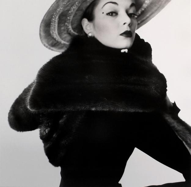 Irving Penn, Dior Fur Scarf (Jean Patchett), New York.  Date printed 1990, Date Executed 1950-51, Selenium toned silver gelatin photograph, 15 1/8 by 15 1/8 inches, courtesy of Exhibitor: Holden Luntz Gallery