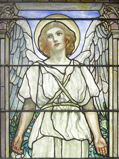Louis C.  Tiffany, Angel of Resurrection (1899; 90 x 37 inches)