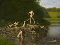 Thomas Eakins' Swimming was among the masterworks shown in an exhibit that the Kennedys viewed on Nov.  22 1963.  The Dallas Art Museum recreates the Kennedys' private art show in an exhibition opening the fall of 2013.