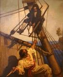 """One more step, Mr.  Hands,"" said I, ""and I'll blow your brains out!"" Illustration by N.C.  Wyeth for the 1911 edition of Robert Louis Stevenson's Treasure Island.  Collection of New Britain Museum of American Art."