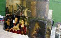 Some of the 300 paintings found in a Polish bricklayer's garden outbuilding.