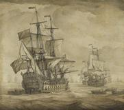 Willem I van de Velde, Englische Kriegsschiffe.  Grisaille on canvas, 1680s.  56,2 x 63,5 cm (22.1 x 25 in) Estimate: € 70.000-90.000