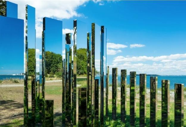 Jeppe Hein: A New End.  On view through October 2017 at World's End in Hingham, MA.