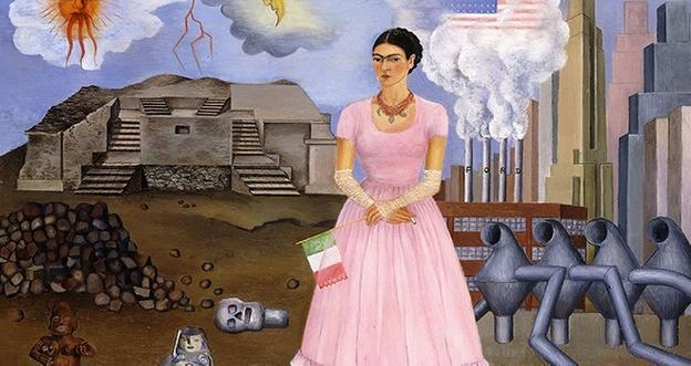 (Detail) Self-Portrait on the Border Line Between Mexico and the United States, 1932, by Frida Kahlo (Colección Maria y Manuel Reyero, New York) © Banco de México Diego Rivera Frida Kahlo Museums Trust, Mexico, D.F./Artists Rights Society (ARS), New York