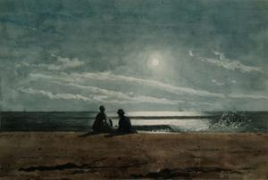 Winslow Homer, Moonlight, 1874, Watercolor and gouache on paper, Arkell Museum at Canajoharie