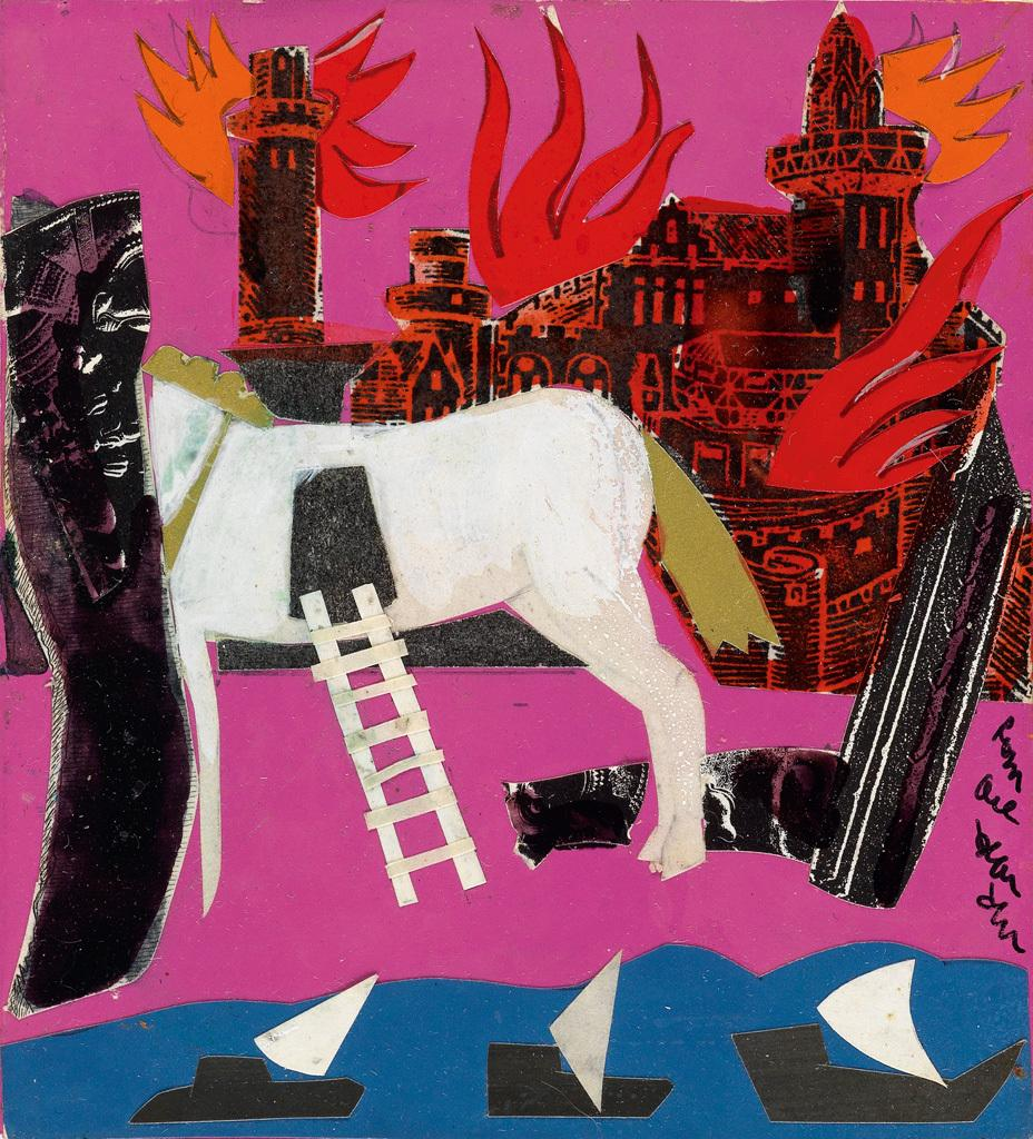 Romare Bearden, Untitled (The Trojan Horse), collage, circa 1977 ($15,000 to $25,000).