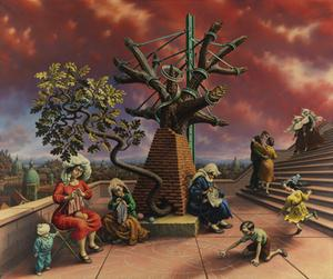 Peter Blume, Tasso's Oak, 1957-60, oil on canvas, 81 x 96 inches.  Private collection, New York.  © The Educational Alliance, Inc./Estate of Peter Blume/Licensed by VAGA, New York, NY