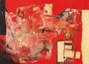 Alberto Burri , R 1, 1953, cloth, fabric, sand, oil on canvas, 80 x 110 cm, Courtesy Mazzoleni Art, London
