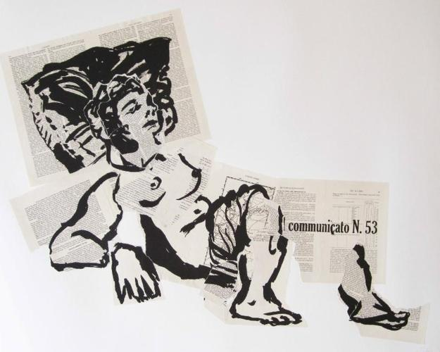 William Kentridge, Olympia 53, 2007.  William Kentridge, Hand lithograph and collage.  Signed and numbered.  Image size: 29 1/2 x 36 3/4 inches.  Edition of 25.  Courtesy of Robert Brown Gallery.