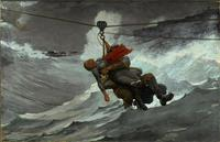 The Life Line, 1884.  Winslow Homer, American, 1836 - 1910.  Oil on canvas, 28 5/8 x 44 3/4 inches (72.7 x 113.7 cm).  Philadelphia Museum of Art, The George W.  Elkins Collection, 1924.
