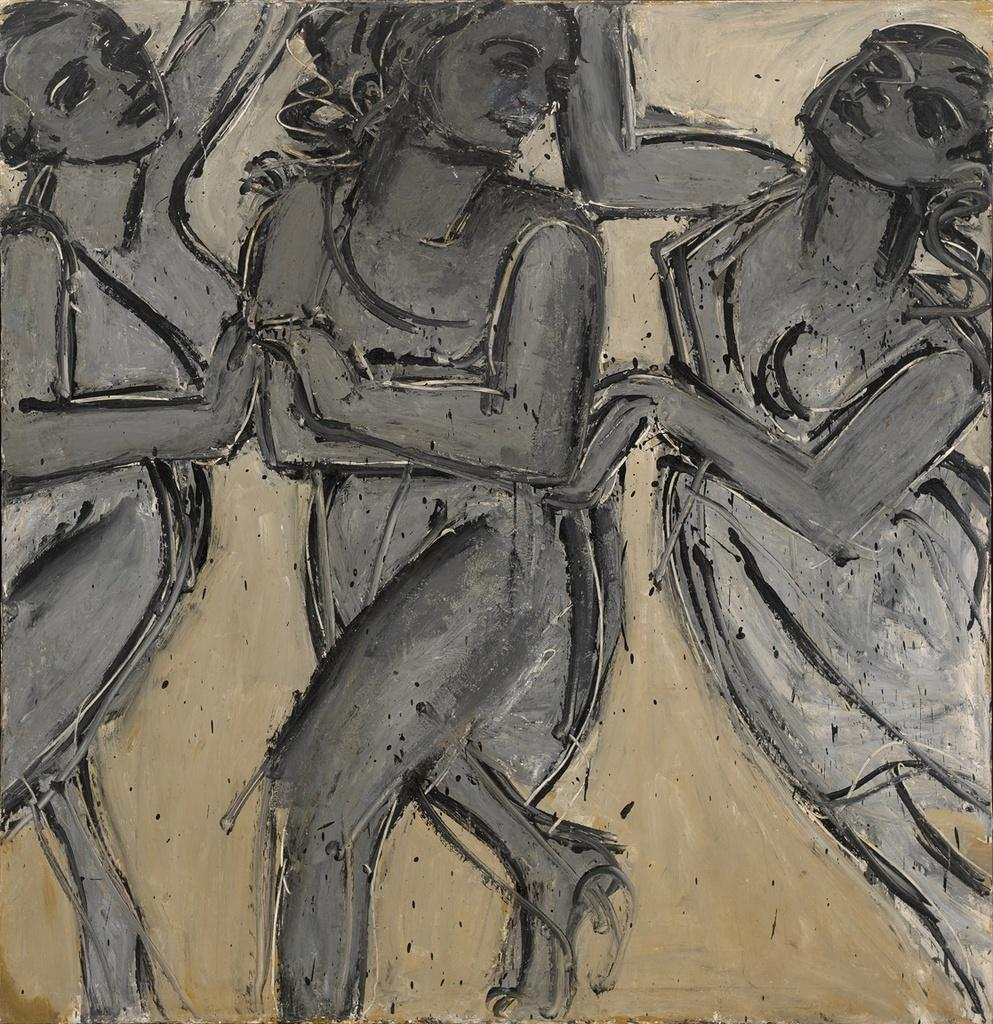 Lester Johnson, Three Graces II, 1967.  oil on canvas, 73 x 48""