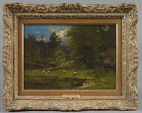"George Inness (American, 1825-1894), PASTORAL LANDSCAPE, circa 1865-67, oil on canvas, signed indistinctly lower right ""George Inness"", 9 3/4 x 13 3/4 inches, (Estimate: $20,000-40,000)."
