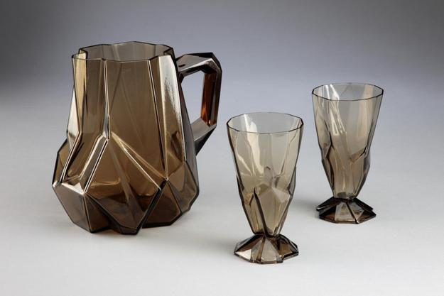 Reuben Haley, designer; Consolidated Lamp & Glass co., manufacturer; Ruba Rombic pitcher and glasses, 1928-1932; glass; Carnegie Museum of Art, Second Century Acquisition Fund