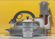 Harold Reddicliffe (b.  1947) Ice Crusher, Coffee Pot, Waffle Iron, and Tea Kettle, 2012.  Oil on canvas, 10 x 14 in.