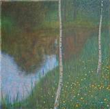 """Gustav Klimt, """"Seeufer mit Birken"""" (lakeside with birch trees), 1901."""