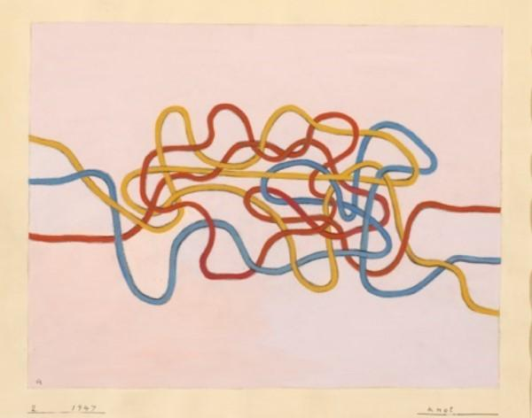 Anni Albers, Knot 2, 1947, gouache on paper, 17 x 21 1/8 inches.  © The Josef and Anni Albers Foundation/ Artists Rights Society New York