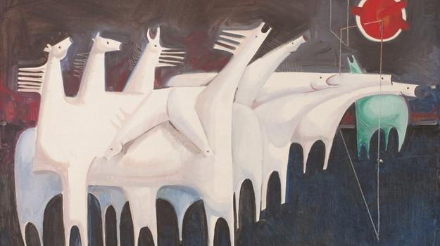Kadhim Hayder, Fatigued Ten Horses Converse with Nothing, 1965, Barjeel Art Foundation