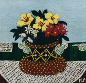 Horace Pippin, Flowers with Four Doilies, 1946.  Oil on canvas.  9 x 11 inches