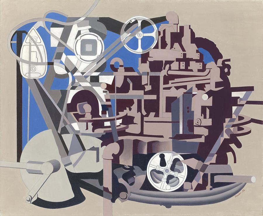 Charles Sheeler, Meta-Mold, 1952.  Oil on canvas, 25 1/4 x 31 inches, signed and dated lower right.