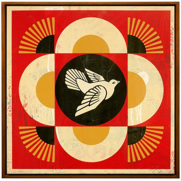 Shepard Fairey, Dove Geometric (red)