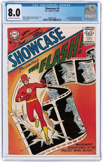 'Showcase' #4, Sept./Oct.  1956, CGC-graded 8.0 VF, featured origin and first appearance of the Silver Age Flash (Barry Allen).  Sold for $75,284
