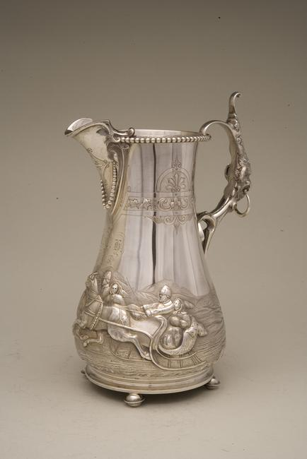A coin silver, footed pitcher with Russian winter scene to be auctioned by Witherell's Nov.  4