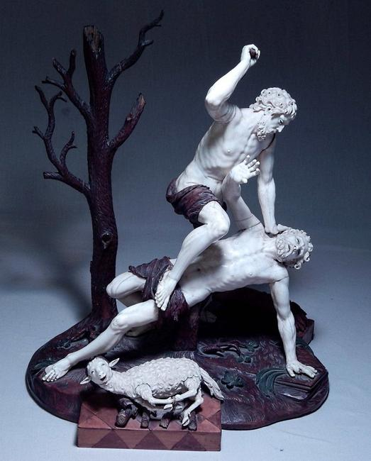 Important Tyrolean carved ivory sculpture of Cain and Abel by Simon Troger (Austrian, 1694-1768).