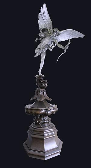 Sir Alfred Gilbert MVO RA, 1854-1934, Eros, 5-10, 1893, Aluminium with bronze base, 94 inches incl.  bronze scroll, courtesy of The Fine Art Society