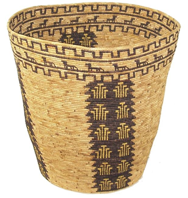 This mid-to-late 1900s Skokomish basket by Richard Cultee, deep flared red with yellow top knot symbols, should fetch $5,000-$10,000.