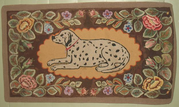 Spotted Dog, late 19th c.  Maine pattern hooked rug