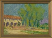 "New Orleans Auction, St.  Charles Gallery, Inc.  recently auctioned William Woodward (American/New Orleans, 1859-1939) ""Sunlit View of the Mission Santa Barbara, California"", 1926, oil on canvas board, signed and dated lower left ""W.  Woodward '26"", frame retains label ""Francis Hendricks Co., Inc., Syracuse, New York"", 13-3/4"" x 19-7/8"".  Presented in a giltwood frame."
