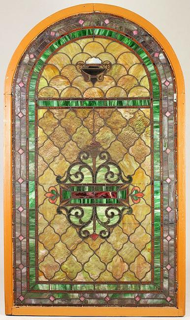 This fine 19th century stained and leaded glass window in the original frame will be sold at auction Jan.  17 in Aberdeen, Miss.