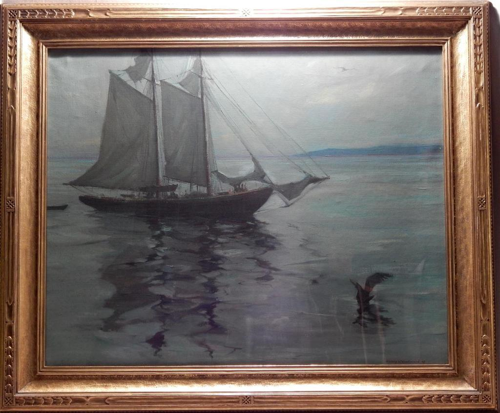 This oil on canvas painting of ships and a bird on calm waters by Stanley Wingate Woodward wil be sold Nov.  22 in Melbourne, Florida.
