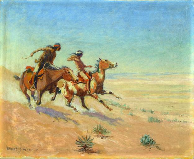 Artwork Credit: Lone Wolf (Hart M.  Schultz), Starting on a Wild Horse Hunt, 1915, oil on canvas; on loan from the Sheldon Museum of Art, University of Nebraska-Lincoln, Anna R.  and Frank M.  Hall Collection.