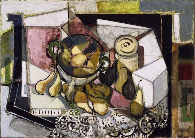 Alfred Henry Maurer, Still Life with Pears, ca.  1930-1931.  Oil on board, 26 × 36 in.  Addison Gallery of American Art, museum purchase