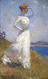 Frank W.  Benson, Sunlight, 1909; oil on canvas, 32 x 20 in.; collection of the Indianapolis Museum of Art, John Herron Fund, 11.1