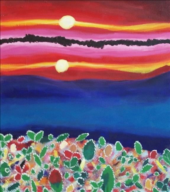 "Marianne Fernandez.  Sunset Acrylic on Canvas 25.5"" x 22.5"""
