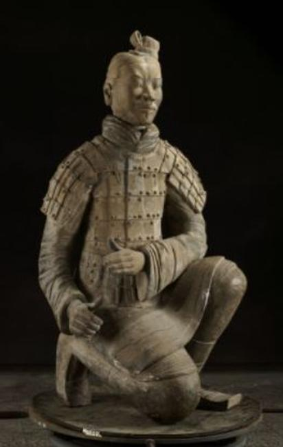 Kneeling Archer, Qin dynasty (221–206 BC), earthenware, 122 x 62 x 53 cm, Excavated from Pit 2, Qin Shihuang's Mausoleum, 1977, Emperor Qin Shihuang's Mausoleum Site Museum