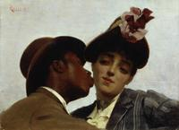 Théodore Jacques Ralli, The Kiss, 1887.  Oil on canvas, 9 ½ x 13 in.  (24 x 33 cm).  Private collection.