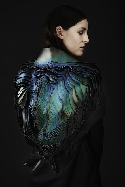 TheUnseen: Lauren Bowker; Jacket, from the AIR collection, 2014; Leather, wind-reactive ink.  Photo by Jonny Lee Photography © TheUnseen.