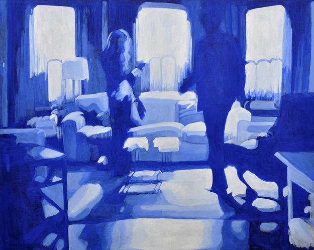 "Viviane Silvera, Therapy No.  9 (Cobalt Blue, Silhouettes), Acrylic on canvas, 48"" x 60"""