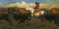 "Andy Thomas 24x48 oil ""Pursuit of the Buffalo"""