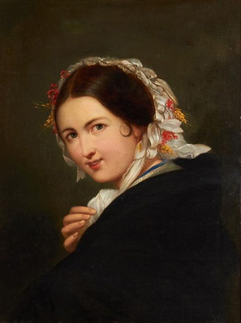 Oil on canvas painting by British-born American artist Thomas Sully (1783-1872), titled Portrait of a Young Woman with Wheat and Flowers on her Bonnet , done in 1841 (est.  $1,500-$2,500).