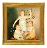 Lot 191: TRIPLE PORTRAIT OF CHILDREN (AMERICAN SCHOOL, 1ST QUARTER-19TH CENTURY).