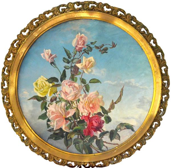 Rose painting by Patty Thum on concave plaster-board, circa 1895.