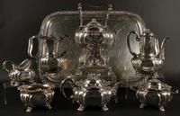 "A 19th century Seven Piece ""Chrysanthemum"" Pattern Sterling Silver Coffee & Tea Service, which was exhibited in the Tiffany & Co.  booth at the 1893 World's Columbian Exhibition in Chicago"